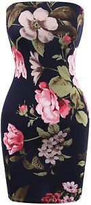 Beyondfab Women's Solid/Print Tube Top Sexy Strapless Bodycon Club Dress