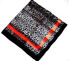 SCARF Large Square Brown Black White Wild Cat Pattern ORANGE BOARDER STRIPE