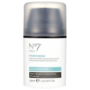 Boots No7 MEN MOISTURISER Calms & Soothes Sensitive Skin (50ml)1.69oz New In Box