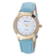 Deluxe Geneva Women Watch Crystal Analog Leather Quartz Wrist Watches Sky Blue