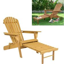 Outdoor Wood Adirondack Chair Foldable Pull Out Ottoman Patio Furniture Home US