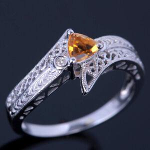 Vintage Pave Trillion Cut Citrine Diamonds Solitare Wedding Ring 10K White Gold