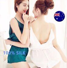 Patternless Hand-wash Only 100% Silk Sleepwear for Women