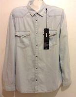 Mavi Premium Denim Blue Bleached Jeans Cotton Casual Men's Shirt Sz XL NEW