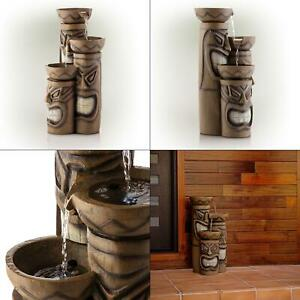 29 in. tiki fountain with led lights   water garden decor alpine outdoor home