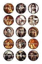 "NATIVE AMERICAN INDIANS bottlecap images 15 precut 1"" circles **FREE SHIPPING**"