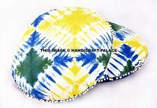 2 PC Indigo Blue Tie Dye Floor Pillow Indian Cushion Cover Round Ottoman Seating