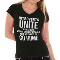 Introverts Unite Just Kidding Go Home Funny Junior V-Neck T-Shirts Tee Tshirts