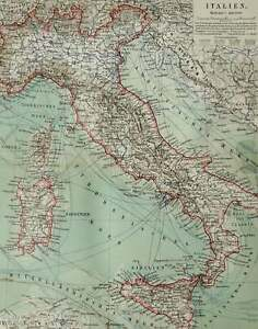 1897 Antique map of ITALY, with shipping routes. 123 years old chart
