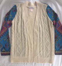 FLYING TOMATO CARDIGAN SWEATER NAVAJO AZTEC BOHO TRIBAL LS Cream Ivory Womens M