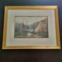 Superbe grande aquarelle monatgne suisse datée 1867 personnages dans les Alpes