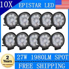 10X 27W LED Work Light Round Spot Beam Off-road Driving Fog Lamp Truck ATV SUV