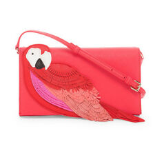 New Kate Spade Flights of Fancy Parrot Cali Crossbody Clutch Leather Whimsical