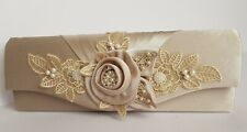 Mother Of The Bride Clutch Bag,champagne satin,hand decorated,pale gold.