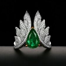 10.5*7MM Pear Cut 2.37TCW Natural Emerald Diamond Engagement Ring Solid 14K Gold