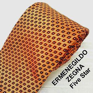 ERMENEGILDO ZEGNA Five Star Italy Silk Tie Glossy Orange + Diamond Chainl-Link