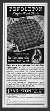 1939 PRINT AD~PENDLETON VIRGIN WOOL SHIRTS Plaid Porland,Oregon Western Scene