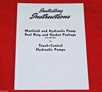Touch Control Hydraulic Pump Rebuild Manual IH Farmall Super A C 100 130 140 200