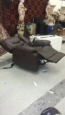 New Lay Flat Brown Automatic Recliner Bonded Leather Chocolate Reclining Chair