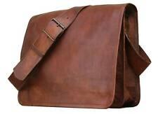"""15"""" Men's Large Vintage Brown Leather Flap Messenger Laptop Satchel Shoulder Bag"""