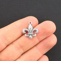BULK 50 Fleur de lis charms tibetan silver WT10