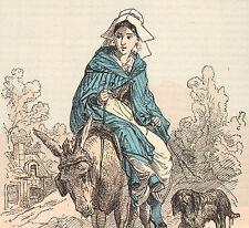 Ancienne gravure aquarellée costume populaire Chateauroux Indre département
