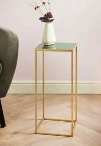 LAGOS Sofa End Side Table Green Solid Marble Top Gold Leg Living Room Furniture