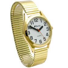 Gents Super-Clear Quartz Watch by Ravel with Expanding Bracelet Goldtone 21