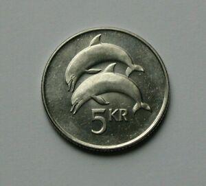 1999 ICELAND Coin - 5 Kronur - AU+ toned-lustre - dolphin (ocean mammal)