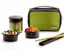 Lock & Lock Stainless Steel Insulated Lunch Box Set 12oz(350ml) Green LHC937G