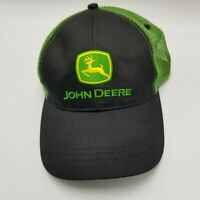 John Deere RN 114640 Hat Cap Black Green Adult Mesh Strapback Tractors Farm JD1