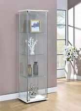 Tall Glass Curio Cabinet Showcase Collectibles Display 4-Shelf Modern White