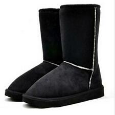 Winter Women Girls Warm Fur Lined Mid-calf Snow Flat Boots Shoes 6 Colors - LD