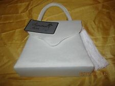 Alfa New Grosgrain purse evening bag Scallop Flap w tassel shoulder strap  Ivory
