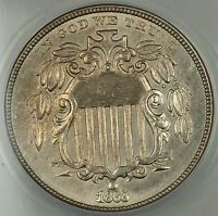 1868 Shield Nickel 5c, ANACS AU-58 Details, Cleaned, Better Coin