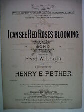 song sheet HENRY PETHER I can see red roses blooming