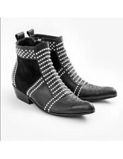 $699 ANINE BING Charlie Silver Studded Black Leather Ankle Boot Size 40 US 9