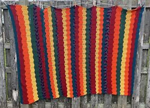 Vtg Chevron Afghan LARGE Fall Colors 92x64 Blanket Orange Green Teal Fabulous
