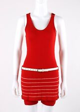 Vtg SWIMMINKNIT JE WATTE CO c.1920's - 1930's Red Belted One Piece Swim Playsuit