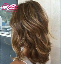 100% Real hair! New Glamour Women's Medium Brown Mix Blonde Wavy Human Hair Wigs