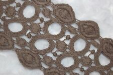 """1 yard Mocha Brown Taupe Cotton VENISE embroidered Victorian  Trim lace 3"""""""