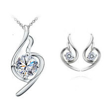 Crystal Rhinestone Music Note Silver Necklace And Earrings Set Costume Jewellery