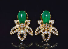 Certified Natural 11.5Cts VS F Diamond Emerald 18K Solid Gold Cluster Earrings