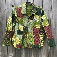 Indigo Moon Women's Size 1X Reversible Green Quilted Jacket Patchwork Floral