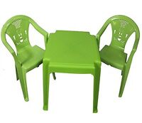 Strong Set of Children Kids Plastic Table and Chairs Nursery Sets Outdoor Indoor