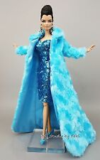 Eaki Blue Sequin Silkstone Barbie Fashion Royalty Candi Evening Dress Outfit FUR