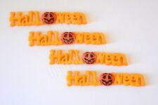 4 Halloween Worded Flat-Back Fall Embellishments / Dress It Up / Jack O Lantern