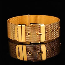 18K Gold Plated Mens Women's Cuff Watchband Bracelet Bangle Sizable L9