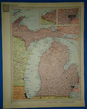Vintage Circa 1952 Michigan Map Old Original Atlas Map - Free S&H