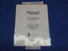 Garrard Original Type A Instruction Manual. Nice Condition.